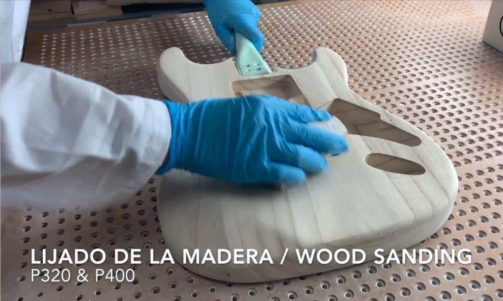 sanding of guitar wood